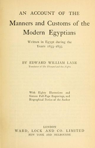 EDWARD WILLIAM LANE AND HIS RESPONSIBILITY FOR DEMONISING THE ...