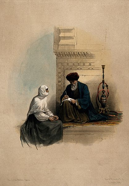 A Coptic Christian woman dictating a letter to a scribe, Cairo, Egypt