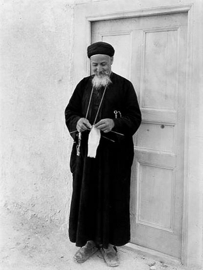 Coptic monk knitting
