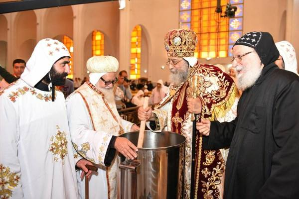 Coptic pope consecrating the myron